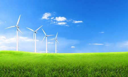 Erneuerbare Energien mit Windkraftanlagen. Windkraftanlage in grünen Hügeln. Ökologie-Umwelthintergrund für Präsentationen und Websites. Schöne Tapete. Landschaft mit Hügeln und Windkraftanlagen. Konzept