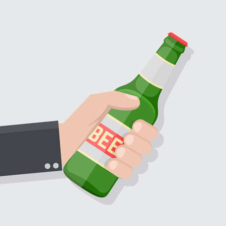 Hand holding bottle of beer in flat style. Concept for beer festivals and parties. Cheers. Vector stock. 向量圖像