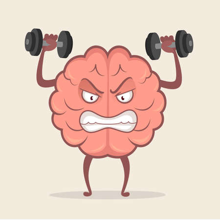 Brain character training with dumbbells. Education and brainstorm concept. Human train intellect, mind workout. Vector stock.