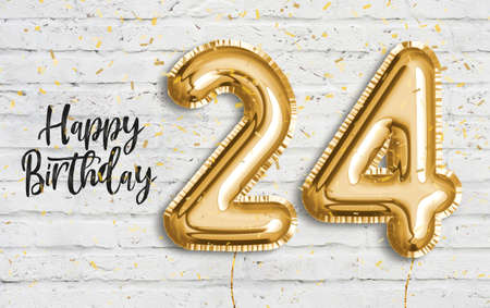 Happy 24 th birthday gold foil balloon greeting white wall background. 24years anniversary logo template- 24th celebrating with confetti. Photo stock.