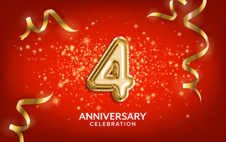 4th Anniversary celebration. Anniversary Celebrating text balloons with golden serpentine and confetti on red background. Birthday or wedding party event decoration. Illustration stock 写真素材