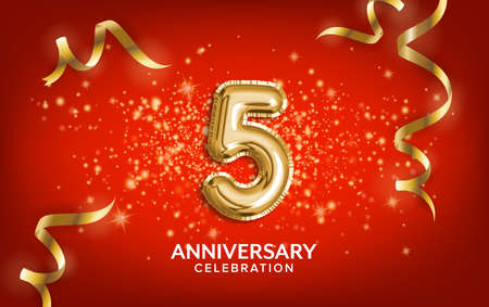 5th Anniversary celebration. Anniversary Celebrating text balloons with golden serpentine and confetti on red background. Birthday or wedding party event decoration. Illustration stock Foto de archivo