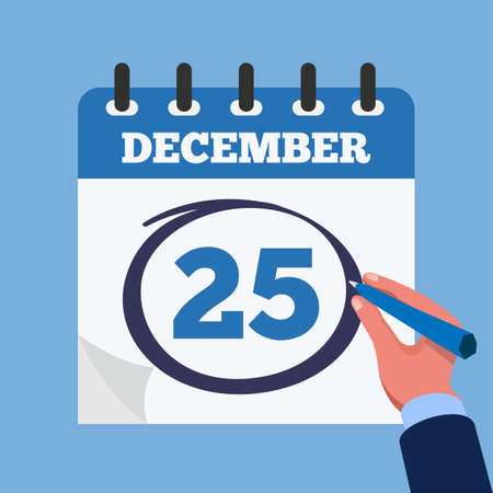 Mark on the calendar at 25 december. Close-up businessman hand with calendar and blue marker. Vector stock.