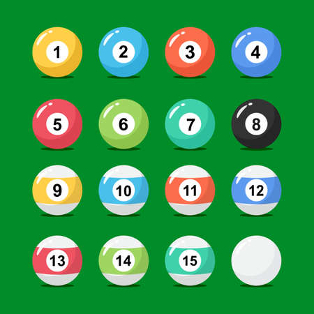 Billiard balls collection in flat style. Set of snooker balls with numbers. Vector stock.