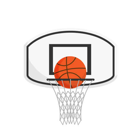 Basketball net with a ball isolated on white background. Basketball concept with Championship. Vector stock.