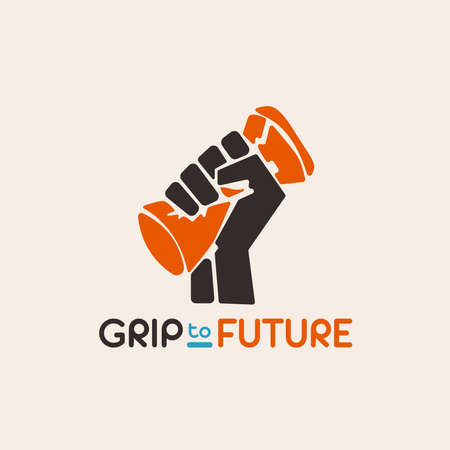 Grip to future a illustration logo vintage and flat design