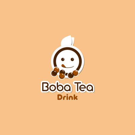 Boba tea drink illustration beverage logo with cartoon and modern style 일러스트
