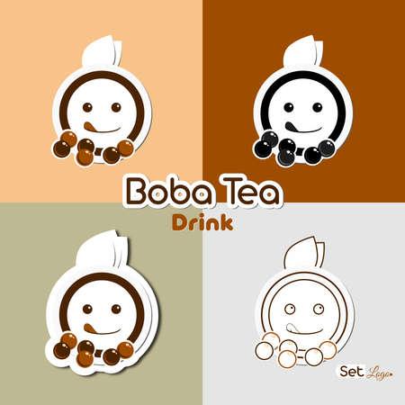 Boba tea drink set logo illustration with cartoon, paper cut, negative, and sticker logo
