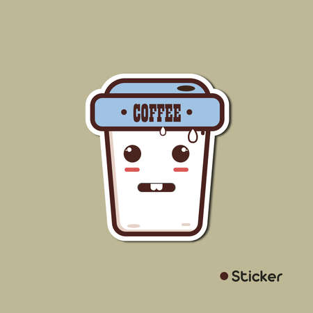 Ice Coffee Drink Illustration with cartoon style, flat, and sticker Illustration