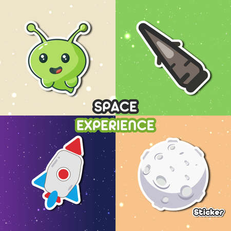 Space Experience Sticker a illustration with cartoon and sticker style