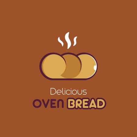 Delicious Oven Bread a food illustration in cartoon style Stock Illustratie