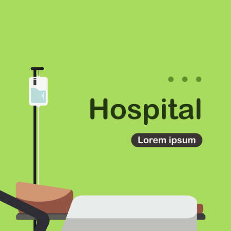 Illustration of Hospital Patient Bed in cartoon and flat style