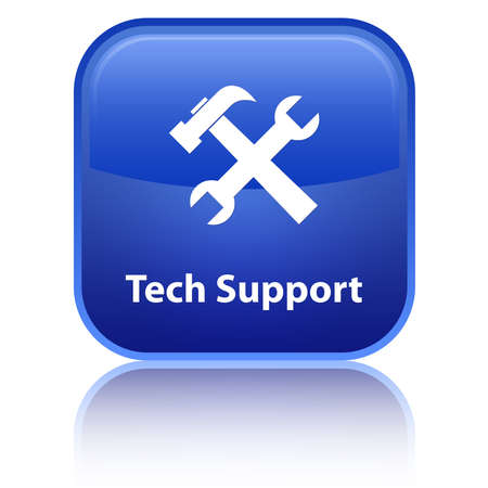 technology to communicate: Tech Support blue button Stock Photo