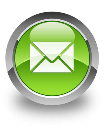 E-mail icon on green glossy button Stock Photo - 13249201