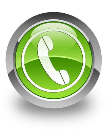 Phone icon on green glossy button Stock Photo - 13249208