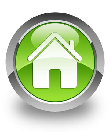 Home icon on green glossy button  Stock Photo