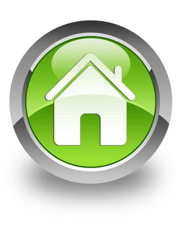 icono home: Inicio icono en el bot�n verde brillante Foto de archivo