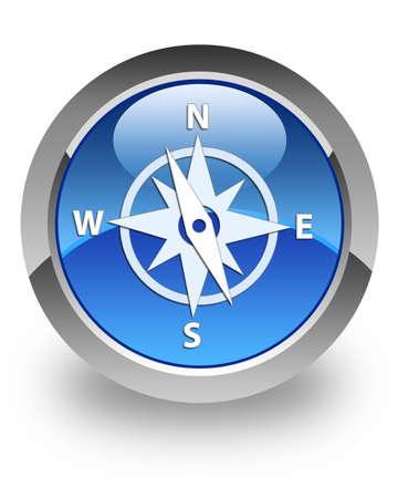 Compass icon on blue glossy button Stock Photo