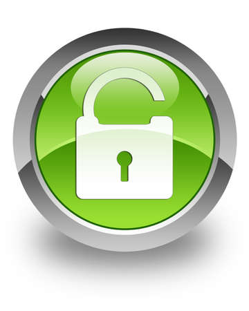 Unlock icon on green glossy button Stock Photo - 13249194