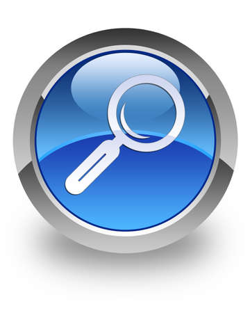 Search icon on blue glossy button Stock Photo - 13249205