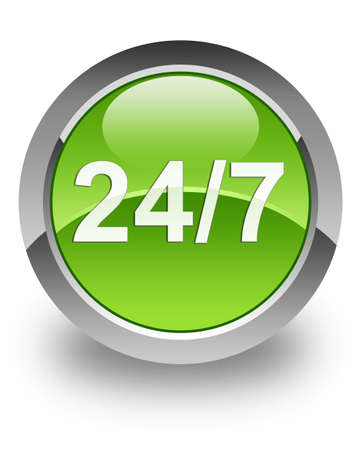 24 7 support  icon on green glossy button Stock Photo - 13261452