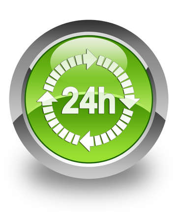 24 hour service   icon on green glossy button photo