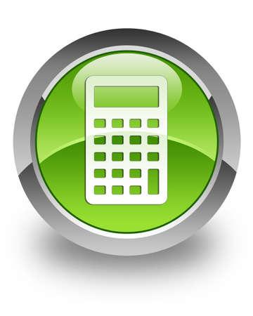 電卓: 計算機アイコン緑色の光沢のあるボタン 写真素材