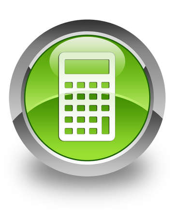 add icon: Calculator icon on green glossy button Stock Photo