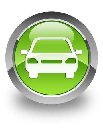 Icône de voiture sur le bouton vert brillant