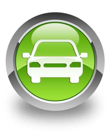 icona: Icon Car sul pulsante verde lucido Archivio Fotografico