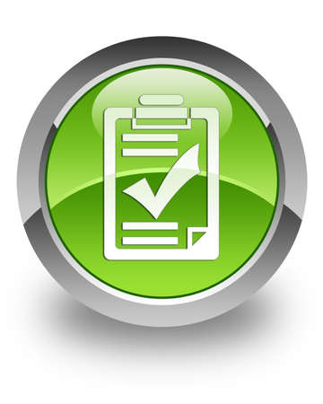 Checklist icon on green glossy button photo