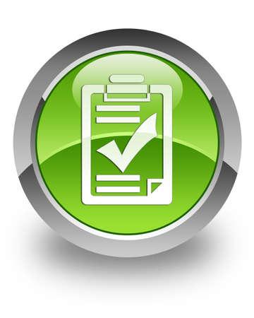audit: Checkliste Symbol auf gr�n gl�nzend Button