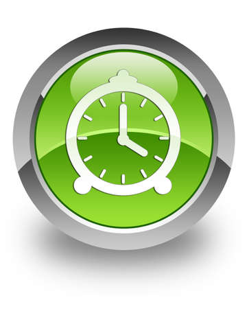 Clock icon on green glossy button photo