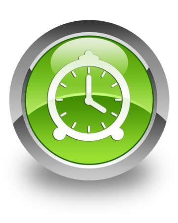 uhr icon: Uhr-Symbol auf gr�n gl�nzend Button
