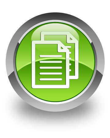 Document icon on green glossy button photo