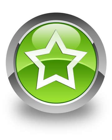 favourites: Favourites icon on green glossy button Stock Photo