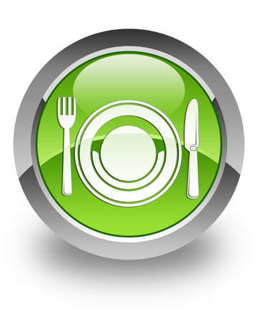 Food icon on green glossy button Stock Photo - 13261491