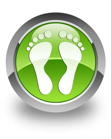 Footprint icon on green glossy button Stock Photo - 13261474