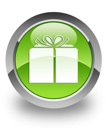 gift parcel: Gift icon on green glossy button Stock Photo