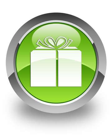 cadeaupapier: Gift pictogram op groene glanzende knop Stockfoto