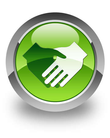 handshake icon: Handshake icon on green glossy button Stock Photo