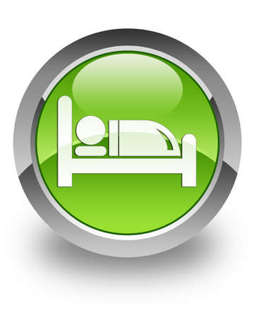 stay in the green: Hotel icon on green glossy button