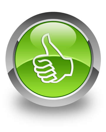 satisfied customer: Like icon on green glossy button