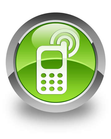 Cell phone ringing icon on green glossy button Stock Photo - 13261481