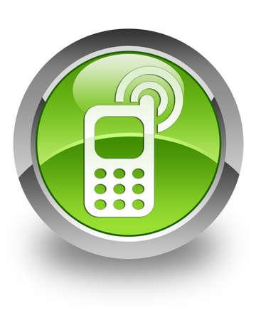 phone button: Mobiele telefoon rinkelen pictogram op groene glanzend knop