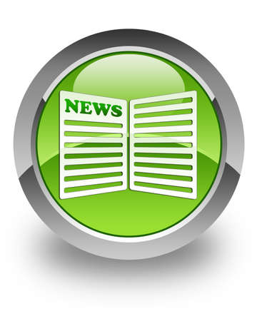 happening: News paper icon on green glossy button