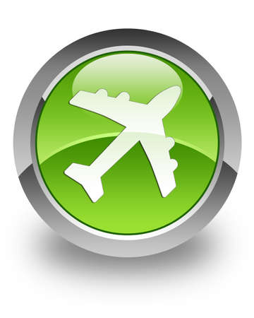 fare: Airplane icon on green glossy button Stock Photo