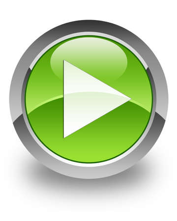 download music: Play icon on green glossy button Stock Photo