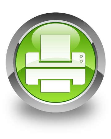 impresora: Icono de la impresora en el bot�n verde brillante Foto de archivo