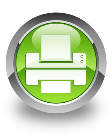 Printer icon on green glossy button Stock Photo - 13261456